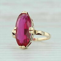 Vintage 2.5ct Oval Cut Red Ruby 14k Yellow Gold Over Solitaire Engagement Ring