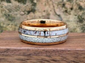 Rose Gold w/ Deer Antler & Meteorite Tungsten Mens Wedding Band Engraving Option