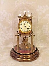 Antique German 400 Day Clock Torsion Pendulum Running? Nice Glass Dome Porcelain