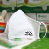 VECO Antimicrobial Washable Cotton Fabric Face Masks (Adult,  White)