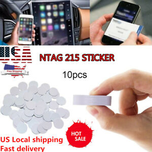10Pcs Ntag215 Nfc Tags Sticker Phone Available Adhesive Labels Rfid Tag.