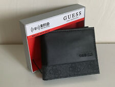 NEW! GUESS BLACK RFID PROTECTION BILLFOLD BIFOLD LEATHER & VALET WALLET $42 SALE
