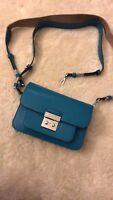 Michael Kors Sloan Editor Large Leather Shoulder Bag Turquoise MSRP $298 NEW