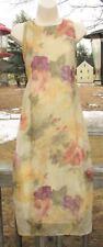Vintage CHRISTY LYN Sleeveless Crinkled Chiffon Floral MAXI SHIFT DRESS sz 2 XS