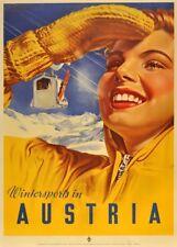Vintage Ski Posters WINTER SPORTS IN AUSTRIA, 1951, Art Deco Travel Print