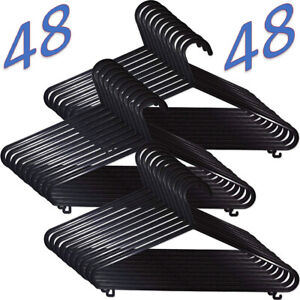 48 x Adult Black Coat Hangers Hanger Coathanger Strong Plastic Clothes Dress Bar