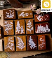 Wooden Rubber Standard Stamps Forest Plants Moon Decoration For Scrapbook Craft