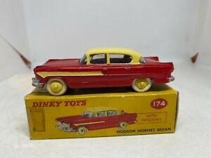 Dinky Toys 174 Hudson Hornet Sedan Two Tone Red & Cream Boxed