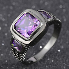 Jewelry For Mens Size 10 Amazing Amethyst Black 18K Gold Filled Anniversary Ring