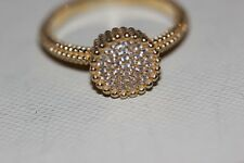 Genuine Links of London Yellow Gold Vermeil Pure 2 Round White Topaz Ring-Size P