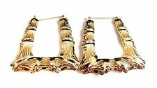 BAMBOO HOOP EARRINGS GOLD AND SILVER TONE SQUARE PUFFED OLD SCHOOL HOOPS 3 INCH