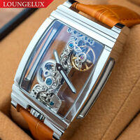 Mens Silver Bridge Manual Mechanical Watch - Orange Leather DIASTERIA 1688