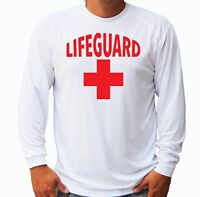 Lifeguard Red Cross Long Sleeve UPF 30 T-Shirt Swimming Pool Beach UV Protection