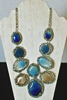 Chico's Blue and Tan Stone Statement Bib Necklace