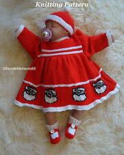 Christmas Santa Dress Hat & Booties Knitting Pattern -Reborn /0-3/6/9/ Baby Xmas