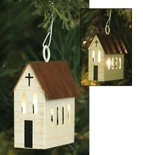Lighted Punched Tin CHURCH Christmas Tree Ornament