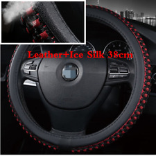 38cm / 15'' Black+Red Leather Ice Silk Car Steering Wheel Cover Protector Cover