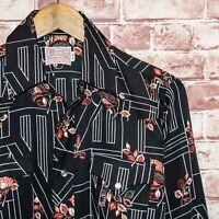 Vtg 70's H BAR C Ranchwear Long Tail Men's Western Shirt Black Floral Size 15 33