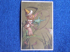 Frogs jumping Through Hoop Held by Elf/Gilchrist Dry Goods-Boston/1880s Card