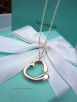 """AUTHENTIC Tiffany & Co. Sterling Silver Medium Open Heart Necklace 16"""" (#1163)"""