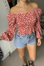 PRIMARK COLD SHOULDER BARDOT RED CROP TOP PEPLUM SIZE 12 10 Button Front Floral
