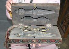 "10.8"" Old Tibet Buddhism Bronze Wood Phurba Dagger Holder Vajra Dorje Box Set S"
