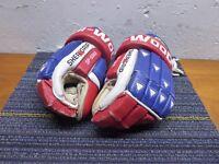 "Sherwood Vintage Leather Platnum NHL SP-5060 14"" Hockey Gloves Red White Blue VG"