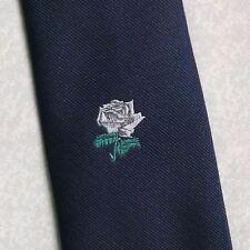 WHITE ROSE CREST TIE VINTAGE RETRO 1970s 1980s NAVY CLUB ASSOCIATION BEAU MONDE