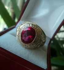 Vintage 10ct Yellow Gold & Red Stone School Ring Boston College 1944  -  size V