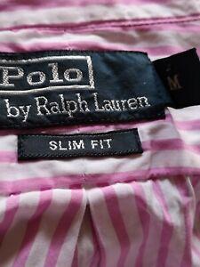 POLO Ralph Lauren womens Stripe Oxford Shirt M 12 UK Pink/White Cotton Genuine