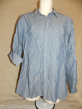 Men Marc Anthony Blue Texture Pattern Roll Tab Sleeves Button Front Shirt Medium