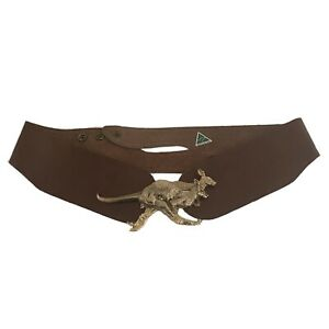 Kangaroo Buckle Solid On Leather Adjustable Belt - Australian Made - Native