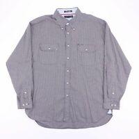Vintage TOMMY HILFIGER Blue Gingham Long Sleeve Casual Shirt Men's Size XL