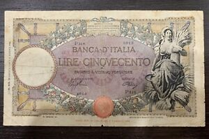 500 Lire Banconota Mietitrice Rarissima Del 23/08/1943 NATURALE  No Fds