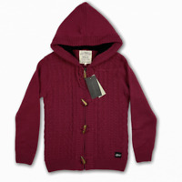 Saltrock Women's Cable Knit Hooded Cardigan Sea Pea Burgundy Red Size 10 RRP £70