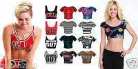 Womens Ladies Short Sleeve Printed Crop Top Belly T Shirt Size S/M M/L 8-14 BNWT