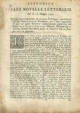 Appendice alle Novelle letterarie del dì 12 maggio 1742 Pier Francesco Foggini