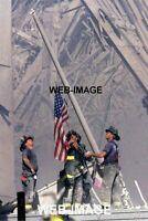 2001 FIREMAN RAISE USA FLAG WORLD TRADE CENTER 4X6 PHOTO NEW YORK CITY AMERICANA