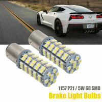 2X 12V 1157 Bay 15D P21/5W 68SMD LED Car Tail Brake Stop Light Bulb Lamp White