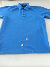 Mens MEDIUM  Hugo Boss TURQUOISE BLUE Green Label golf polo shirt BUTTON FRONT