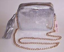 Victoria's Secret SILVER FAUX LEATHER CROSS-BODY BAG Tassel Gold Strap NWT $70