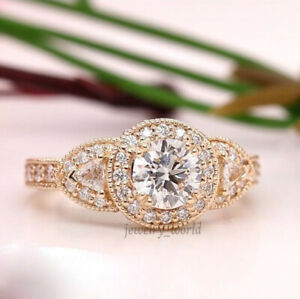 14K Solid Rose Gold 2.00Ct White Moissanite Engagement Beautiful Ring For Woman