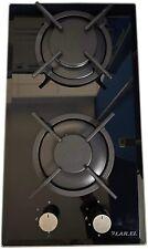 Piano Cottura larel vetroceramica NERO Domino 2 Fuochi 30cm Inox METANO O GPL