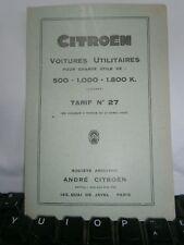 Catalogue  pub auto tarif Citröen voiture utilitaire de 500 à 1800 K an 1930
