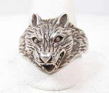 Sterling Silver Wolf Head Mens Ring Size 13.5 Vintage Snarling Dog Fangs Wolves