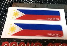 "Philippines Proud Flag Domed Decal Emblem Car Flexible 3D 4x1"" Set of 2 Sticker"