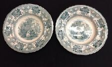 PAIR Antique Joseph Heath and Co. Milanese Pavilions Soup Bowl in Green