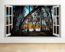 Wall Stickers Trees River Woods Park Scenic Window Decal 3D Art Vinyl Room D088