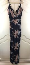NWT Privacy Please Black Pink Floral Spaghetti Strap Lace Up Back Jumpsuit Small