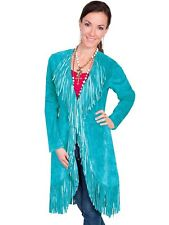 Womens Blue Western Wear Coat Real Suede Leather Jacket With Native Fringes New